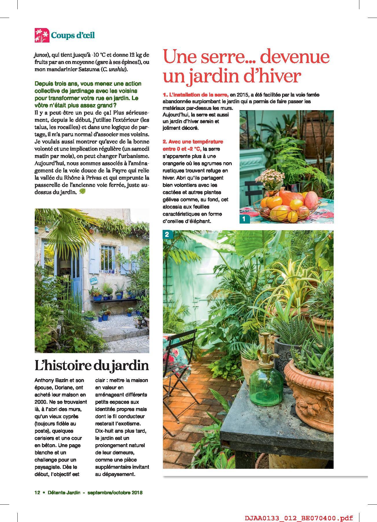 Parenthèse Exotique En Ardèche Au Jardin De Bésignoles Dans Le Magazine  DÉTENTE JARDIN N°133 (septembre Octobre 2018) :